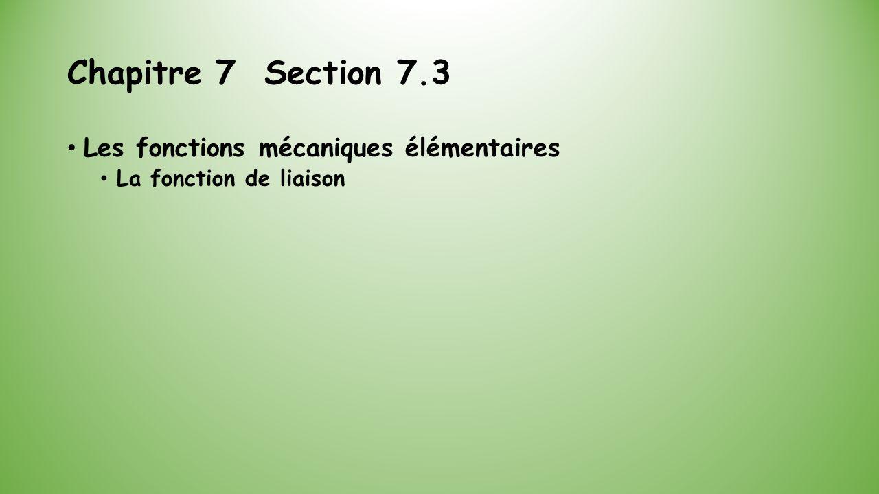 Chapitre 7 Section 7.3 Les fonctions mécaniques élémentaires La fonction de liaison