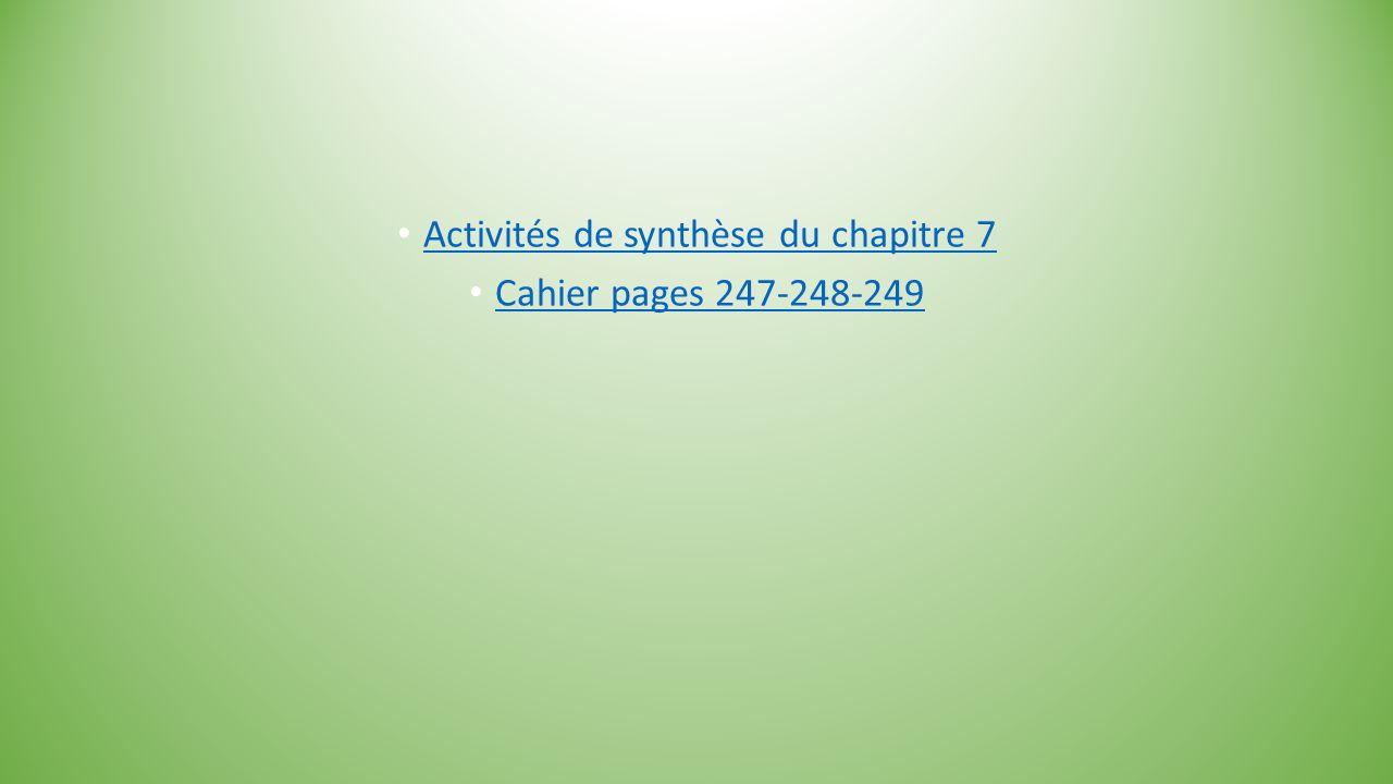 Activités de synthèse du chapitre 7 Cahier pages 247-248-249