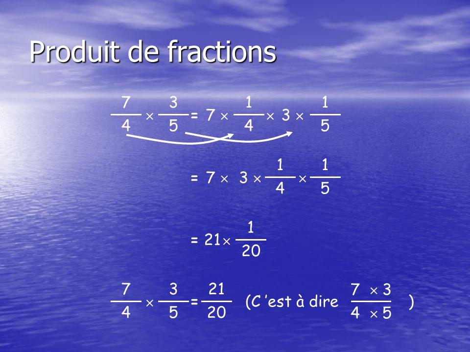 Produit de fractions 3 5  7 4 1 4 = 7  1 5  3  1 5 = 7  1 4 3   = 21 1 20  3 5  7 4 = 21 20 (C 'est à dire ) 7  3 4  5