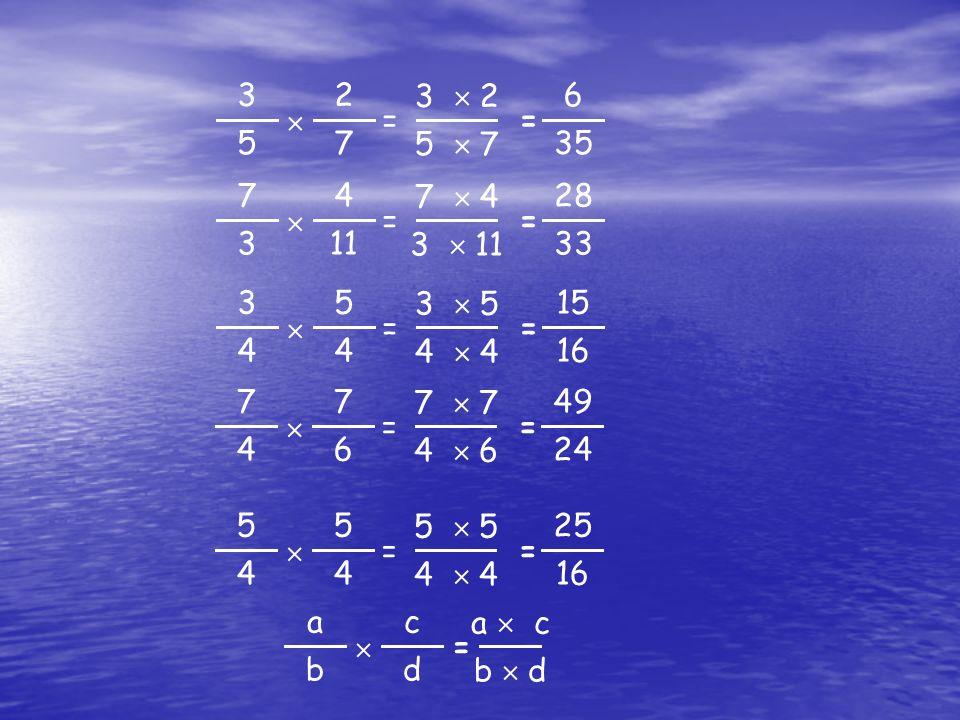 2 7  3 5 = 6 35 3  2 5  7 = 4 11  7 3 = 28 33 7  4 3  11 = 5 4  3 4 = 15 16 3  5 4  4 = 7 6  7 4 = 49 24 7  7 4  6 = 5 4  5 4 = 25 16 5  5 4  4 = c d  a b a  c b  d =
