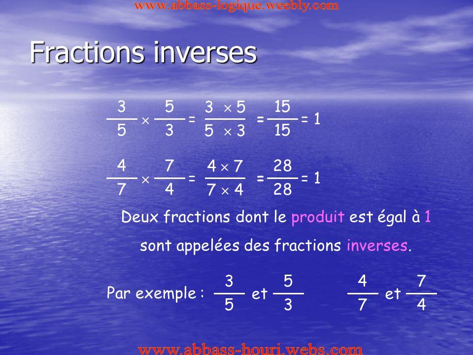 Fractions inverses 5 3  3 5 = 15 3  5 5  3 == 1 7 4  4 7 = 28 4  7 7  4 == 1 Deux fractions dont le produit est égal à 1 sont appelées des fractions inverses.