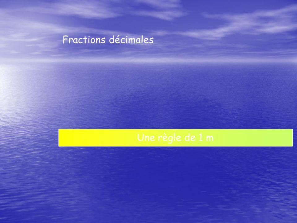 Une règle de 1 m Fractions décimales