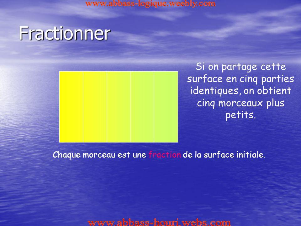 Fractionner Si on partage cette surface en cinq parties identiques, on obtient cinq morceaux plus petits.