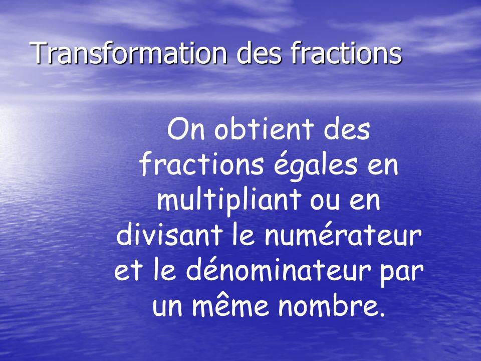 Transformation des fractions On obtient des fractions égales en multipliant ou en divisant le numérateur et le dénominateur par un même nombre.