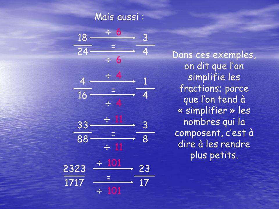 18 24 3 4 =  6 6  6 6 4 16 1 4 =  4 4  4 4 33 88 3 8 =  11 2323 1717 23 17 =  101 Mais aussi : Dans ces exemples, on dit que l'on simplifie les fractions; parce que l'on tend à « simplifier » les nombres qui la composent, c'est à dire à les rendre plus petits.