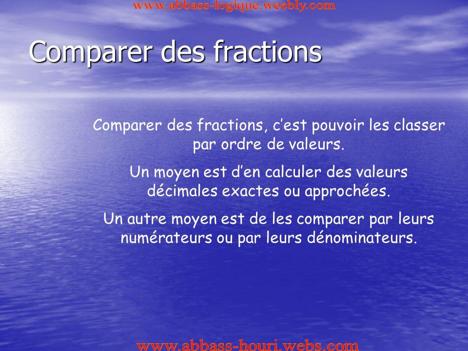 Comparer des fractions Comparer des fractions, c'est pouvoir les classer par ordre de valeurs.