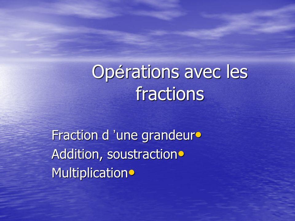 Op é rations avec les fractions Fraction d ' une grandeur Fraction d ' une grandeur Addition, soustraction Addition, soustraction Multiplication Multiplication