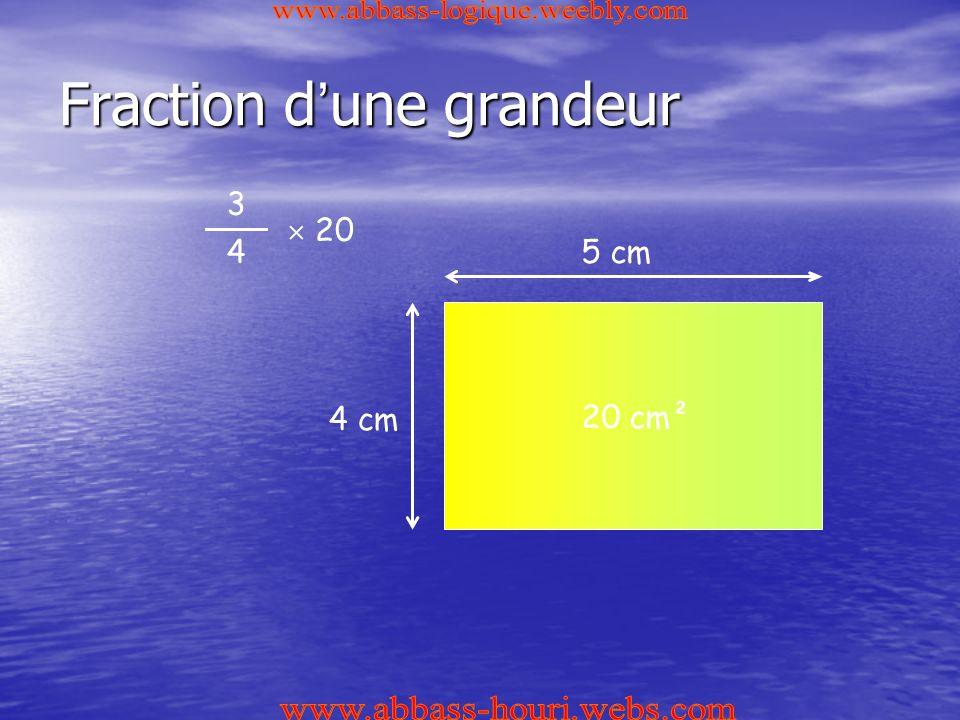 Fraction d ' une grandeur 3 4  20 5 cm 4 cm 20 cm²