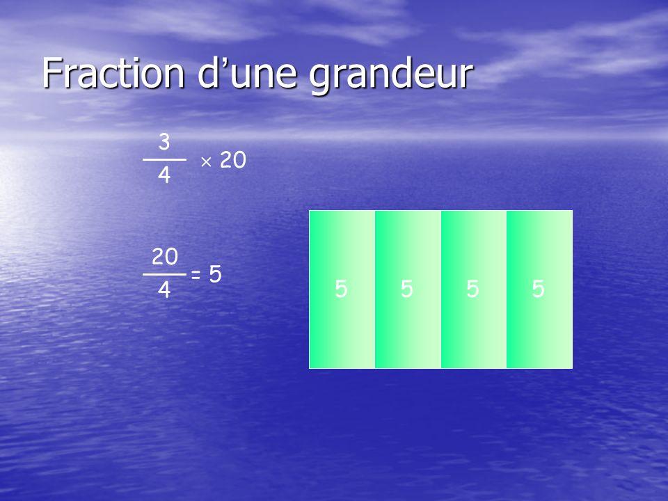 Fraction d ' une grandeur 3 4  20 20 cm² 5555 20 4 = 5