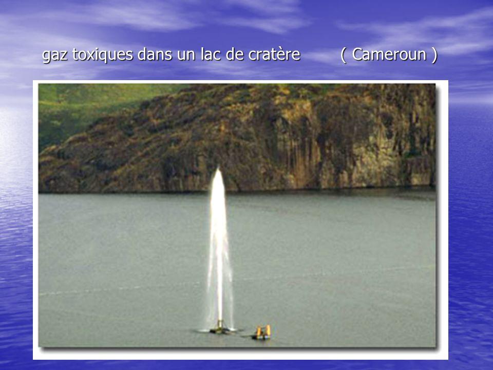 gaz toxiques dans un lac de cratère ( Cameroun )