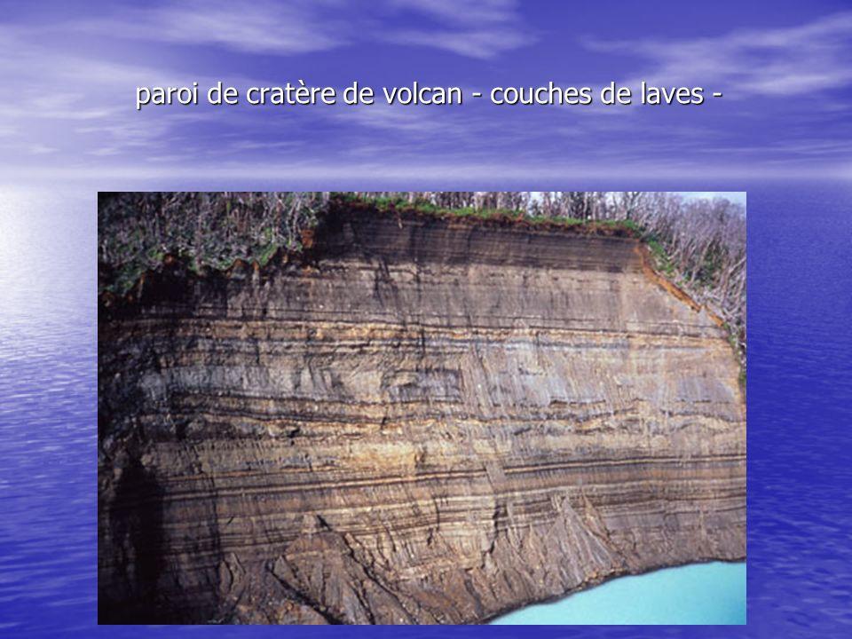 paroi de cratère de volcan - couches de laves -