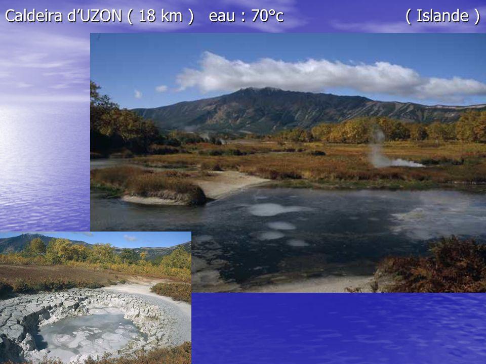 Caldeira d'UZON ( 18 km ) eau : 70°c ( Islande )