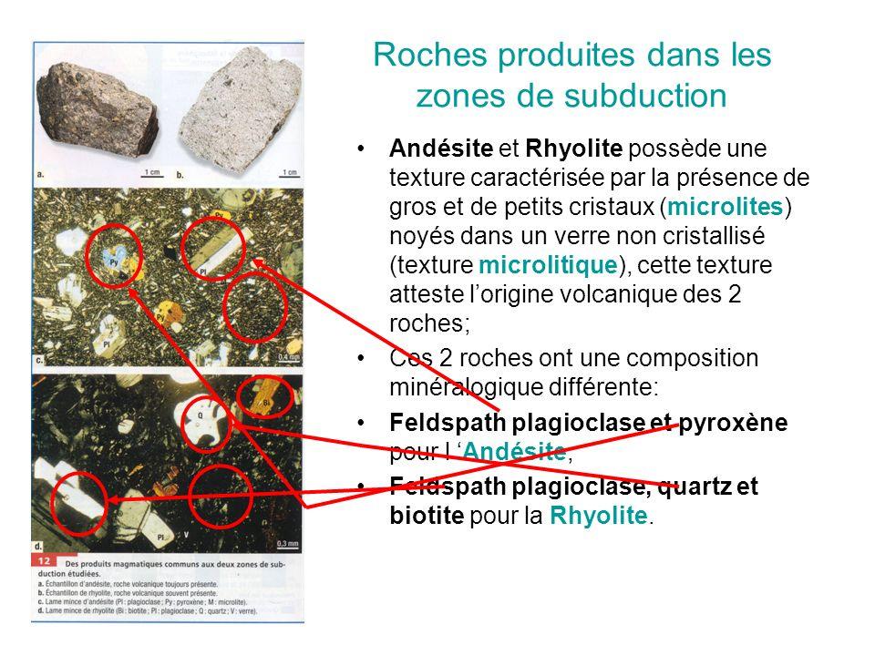 Roches produites dans les zones de subduction Andésite et Rhyolite possède une texture caractérisée par la présence de gros et de petits cristaux (microlites) noyés dans un verre non cristallisé (texture microlitique), cette texture atteste l'origine volcanique des 2 roches; Ces 2 roches ont une composition minéralogique différente: Feldspath plagioclase et pyroxène pour l 'Andésite, Feldspath plagioclase, quartz et biotite pour la Rhyolite.