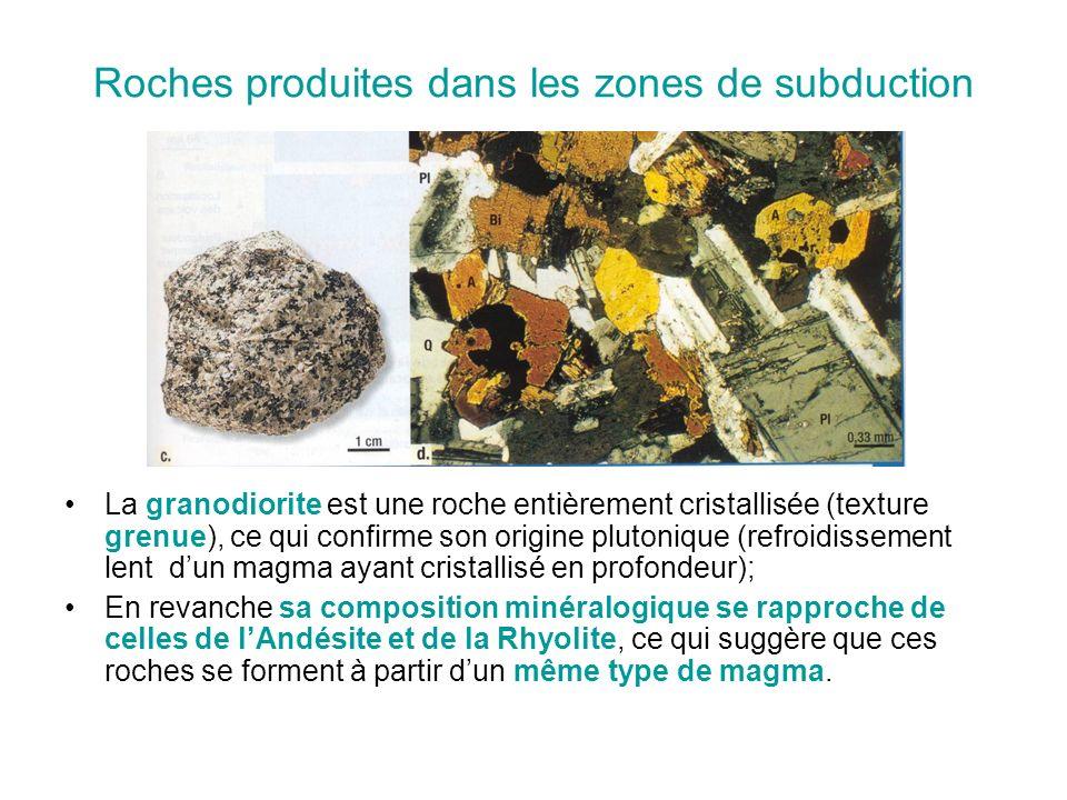 Roches produites dans les zones de subduction La granodiorite est une roche entièrement cristallisée (texture grenue), ce qui confirme son origine plutonique (refroidissement lent d'un magma ayant cristallisé en profondeur); En revanche sa composition minéralogique se rapproche de celles de l'Andésite et de la Rhyolite, ce qui suggère que ces roches se forment à partir d'un même type de magma.