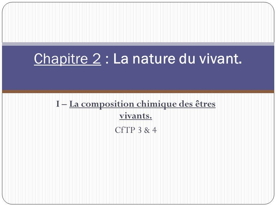 I – La composition chimique des êtres vivants. Cf TP 3 & 4 Chapitre 2 : La nature du vivant.