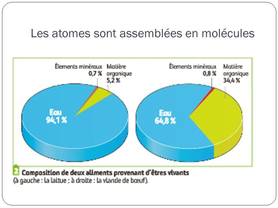 Les atomes sont assemblées en molécules Molécules minéralesMolécules organiques non combustibles et non énergétiques Eau : 80 % des Vx et 60 % des Ax Les sels minéraux : Anions : Cl -, SO 4 2- … Cations : Ca 2+, K +, Mg 2+ combustibles, énergétiques et carbonée 4 groupes