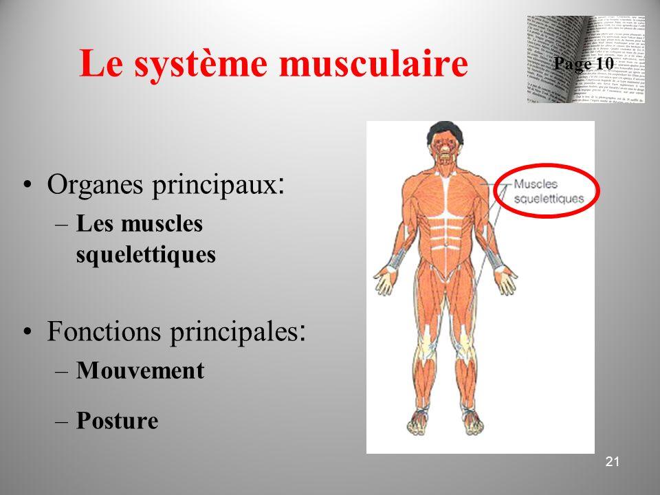 Le système musculaire Organes principaux : –Les muscles squelettiques Fonctions principales : –Mouvement –Posture 21 Page 10