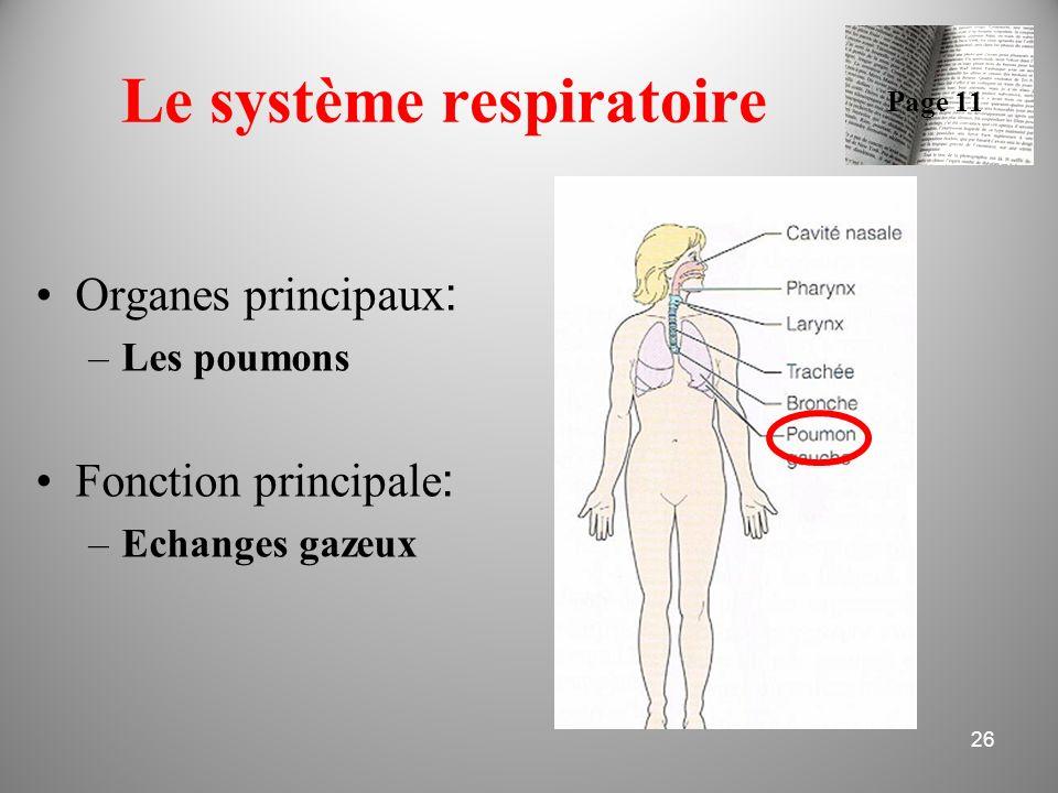 Le système respiratoire Organes principaux : –Les poumons Fonction principale : –Echanges gazeux 26 Page 11