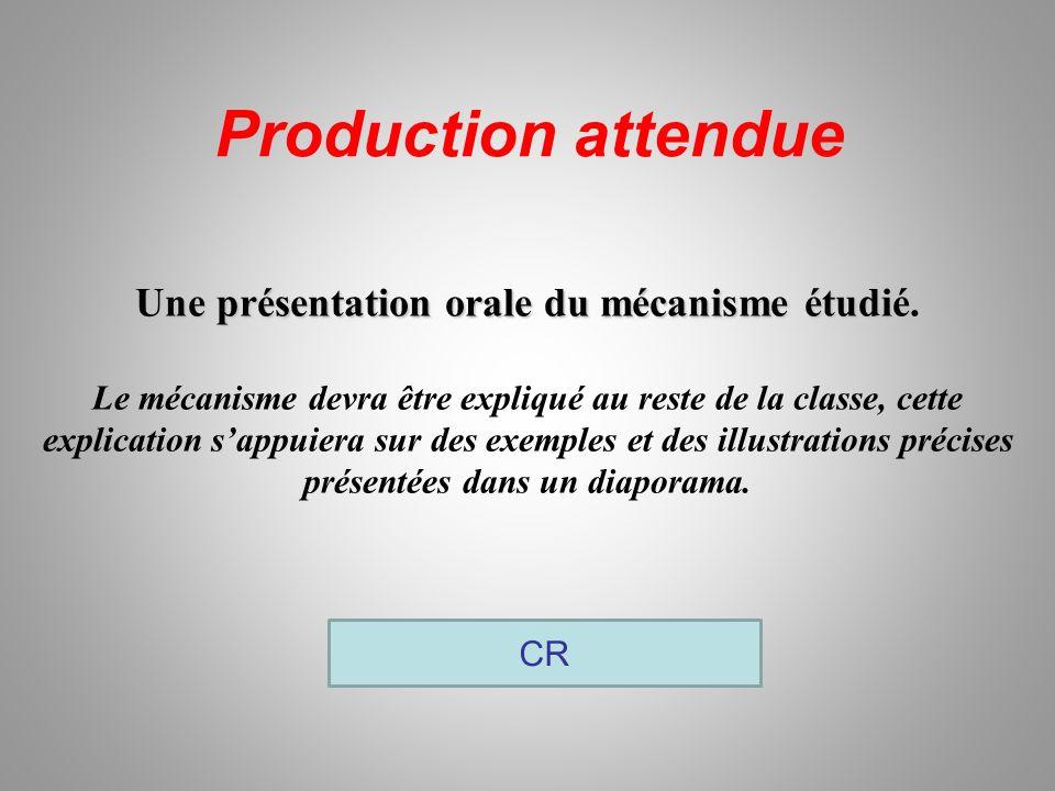 Production attendue CR Une présentation orale du mécanisme étudié.