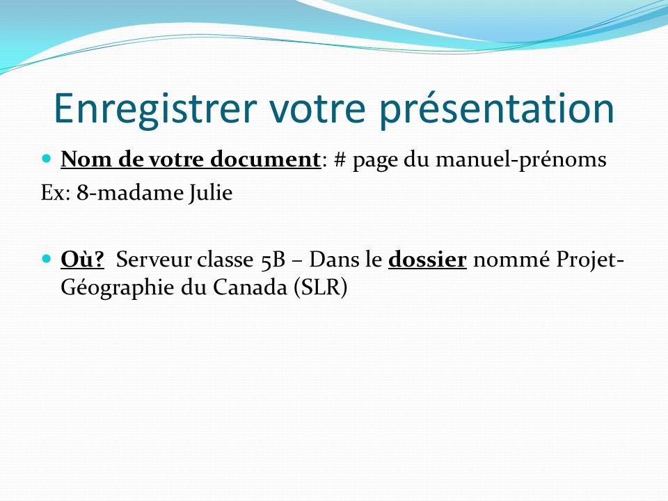Enregistrer votre présentation Nom de votre document: # page du manuel-prénoms Ex: 8-madame Julie Où.