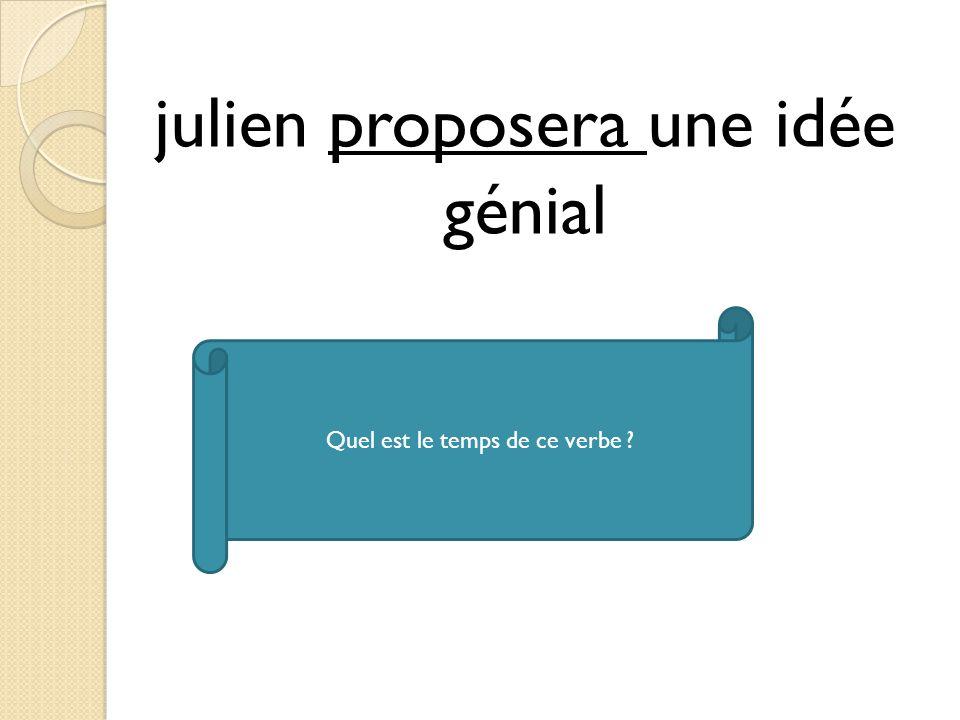 julien proposera une idée génial Quel est le temps de ce verbe