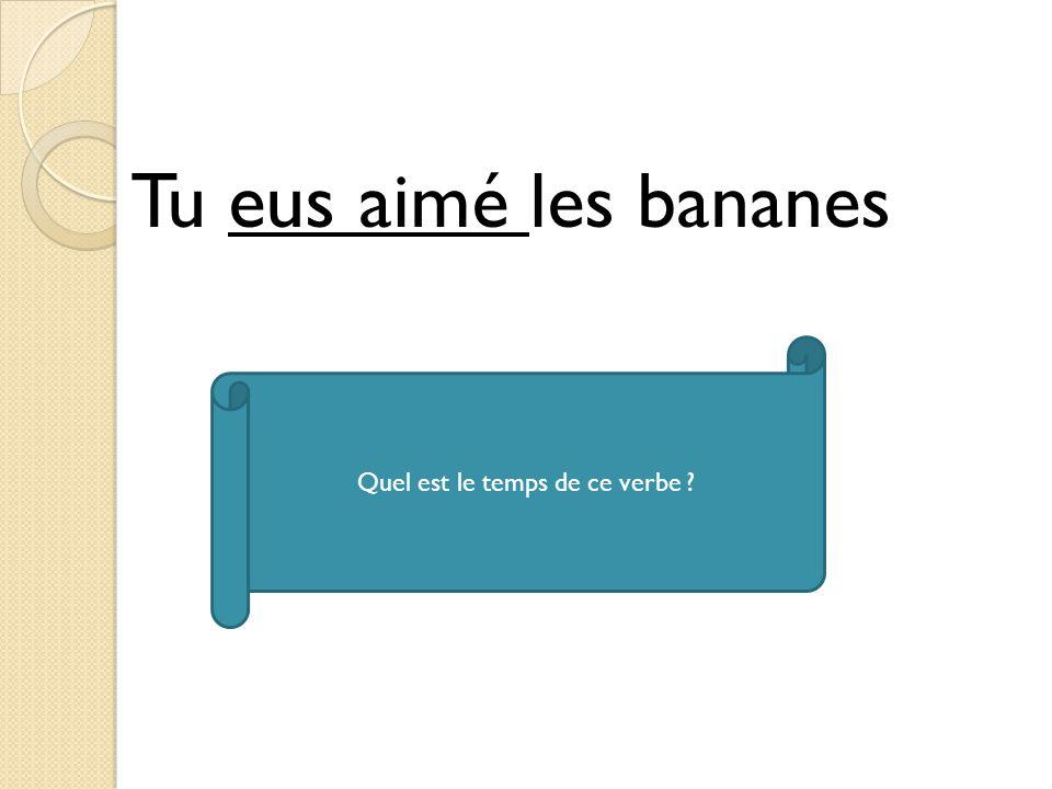 Tu eus aimé les bananes Quel est le temps de ce verbe