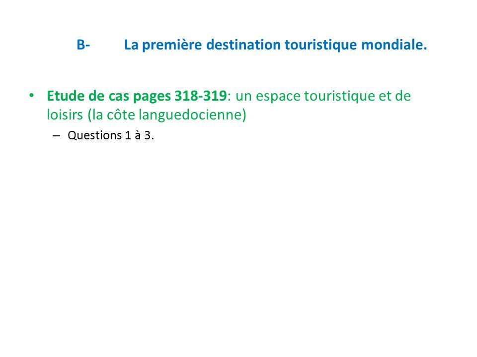 B-La première destination touristique mondiale.
