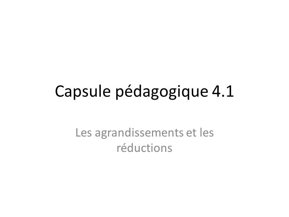 Capsule pédagogique 4.1 Les agrandissements et les réductions