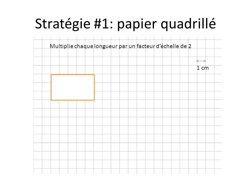 Stratégie #1: papier quadrillé Multiplie chaque longueur par un facteur d'échelle de 2 1 cm