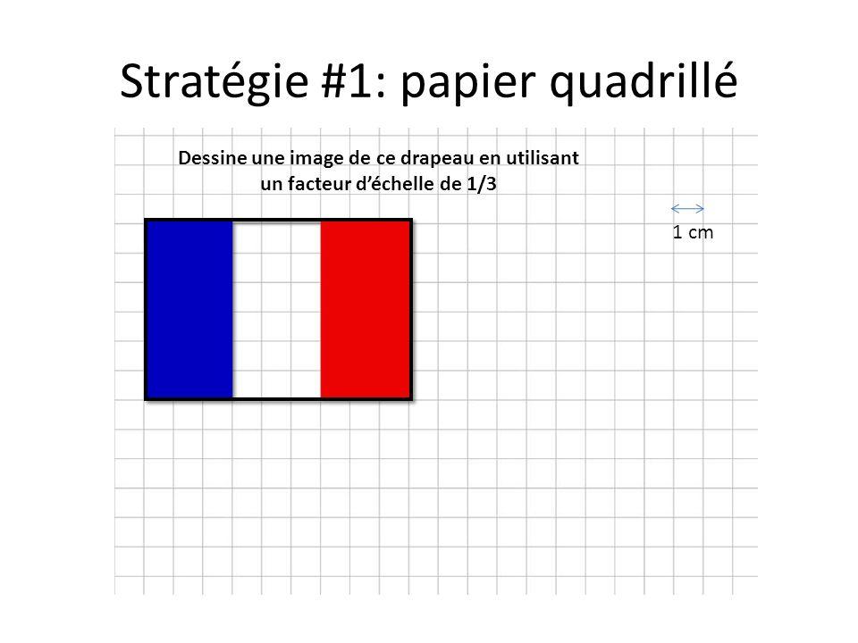 Stratégie #1: papier quadrillé Dessine une image de ce drapeau en utilisant un facteur d'échelle de 1/3 1 cm