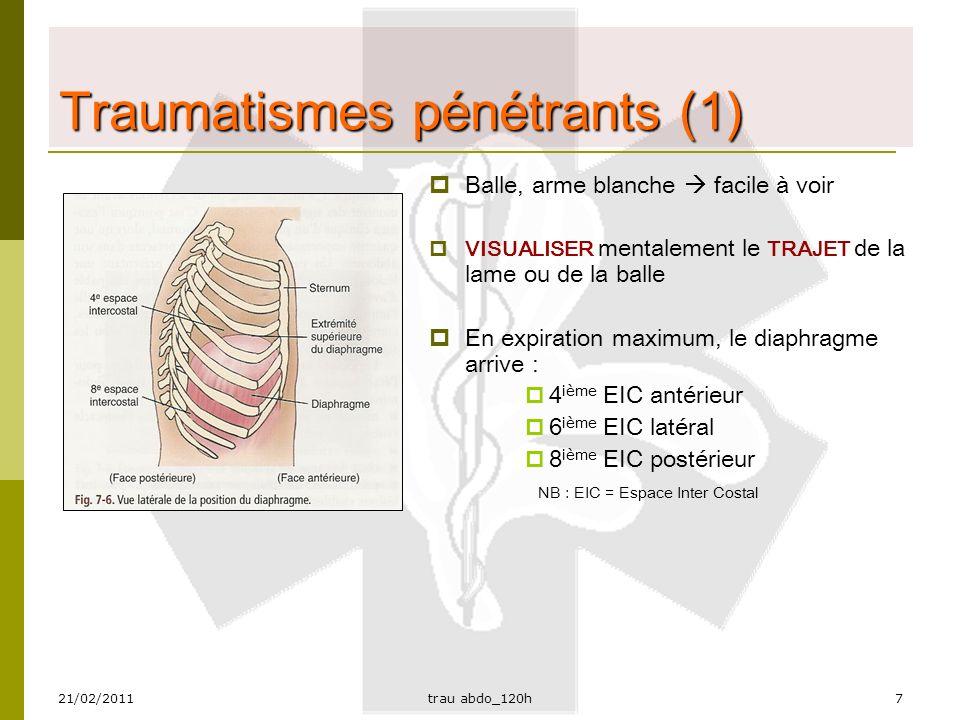 21/02/2011trau abdo_120h8 Traumatismes pénétrants (2)  ATTENTION AUX LÉSIONS PÉNÉTRANTES :  Thorax  Flancs  Fesses