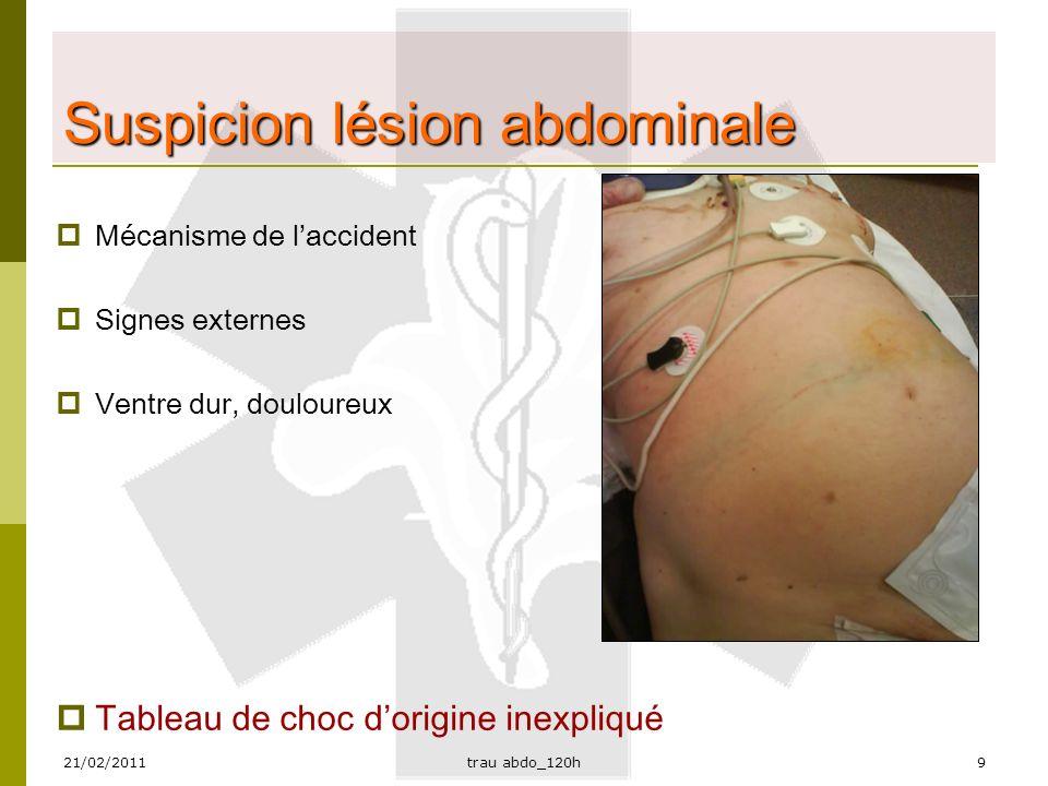 21/02/2011trau abdo_120h10 Prudence  Enfants  Intoxication (alcool, drogues,…)  Signes de défense abdominale (= ventre dur) à partir de 1,5 L de sang dans l'abdomen!!.