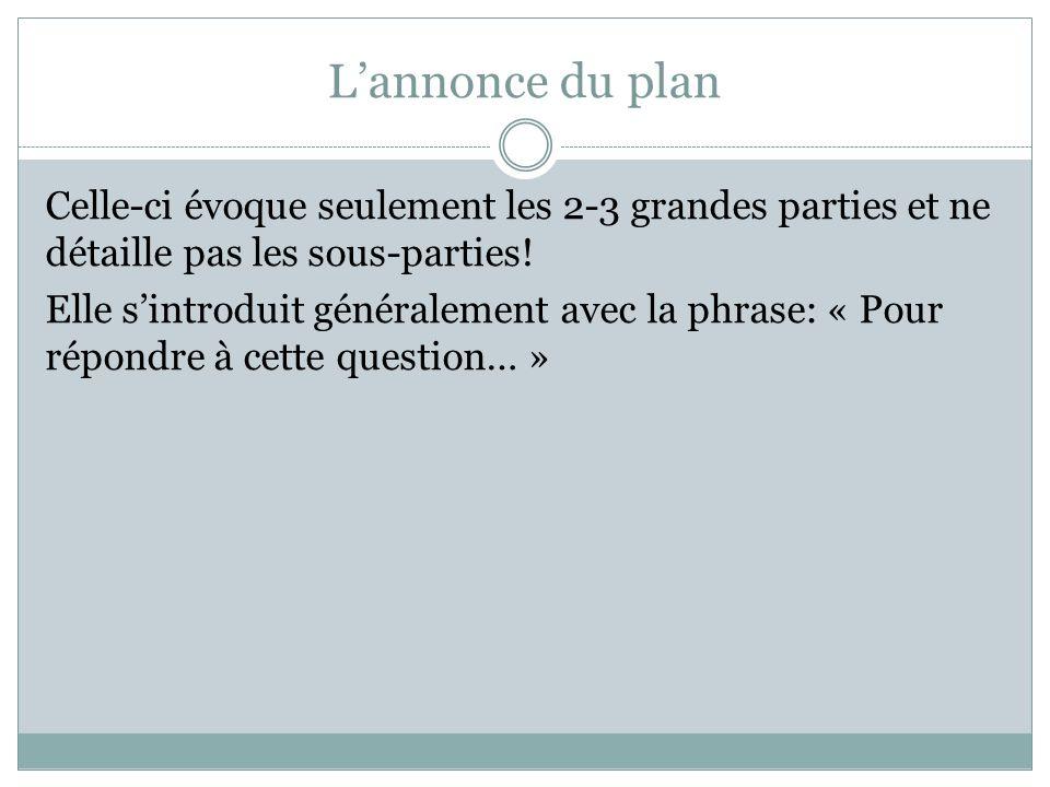 L'annonce du plan Celle-ci évoque seulement les 2-3 grandes parties et ne détaille pas les sous-parties.