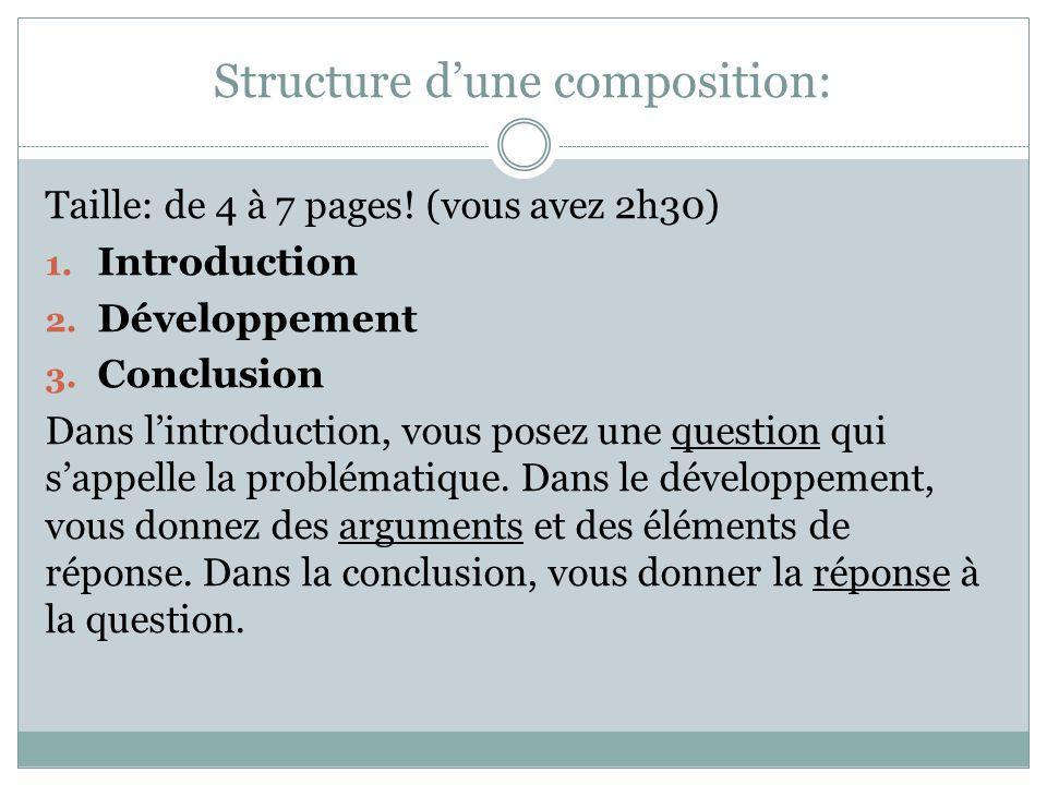 Structure d'une composition: Taille: de 4 à 7 pages.