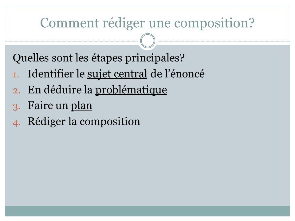 Comment rédiger une composition.Quelles sont les étapes principales.