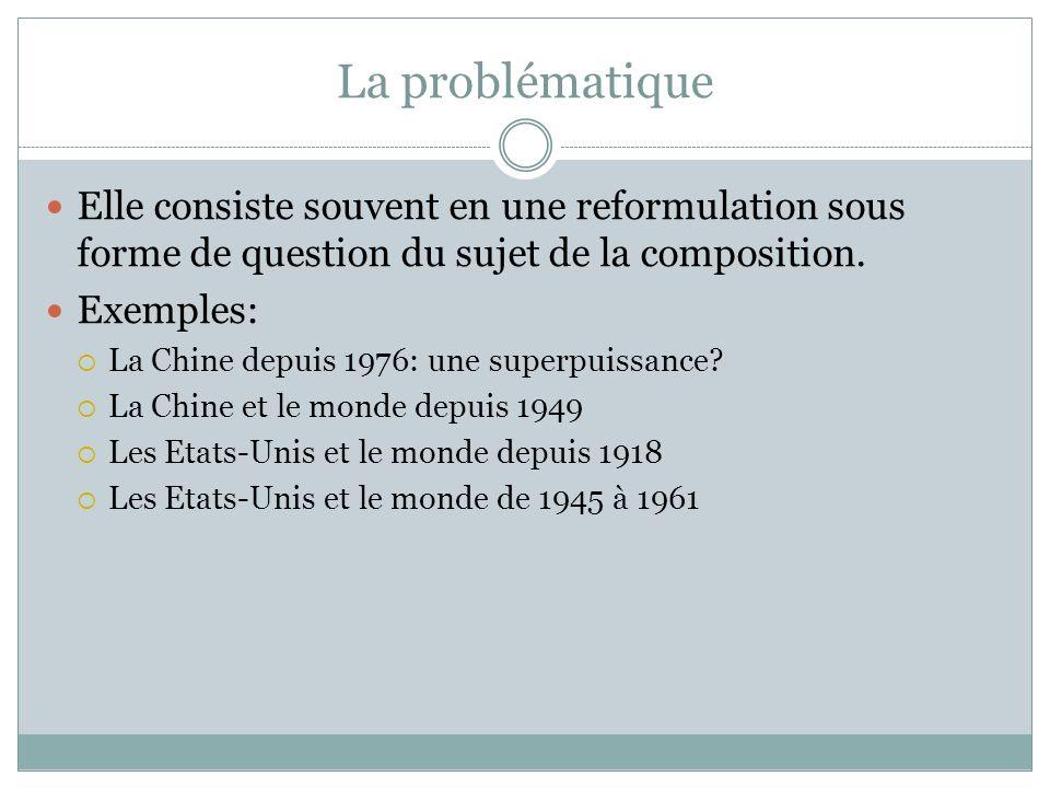 La problématique Elle consiste souvent en une reformulation sous forme de question du sujet de la composition.