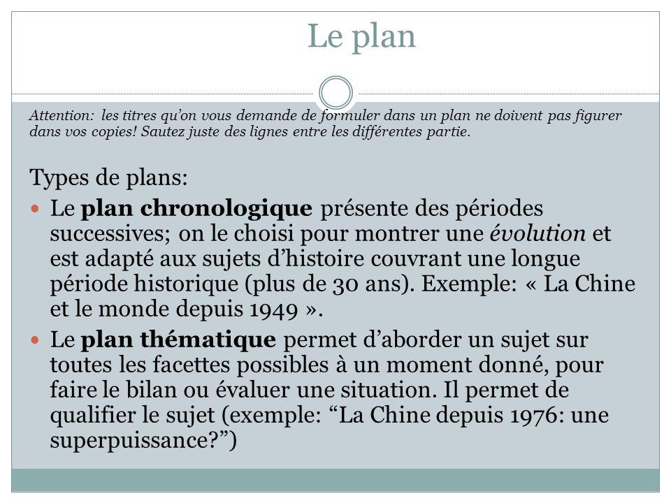 Le plan Attention: les titres qu'on vous demande de formuler dans un plan ne doivent pas figurer dans vos copies.
