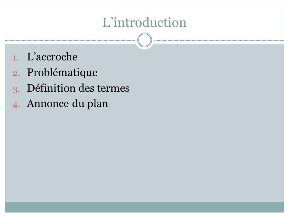 L'introduction 1. L'accroche 2. Problématique 3. Définition des termes 4. Annonce du plan