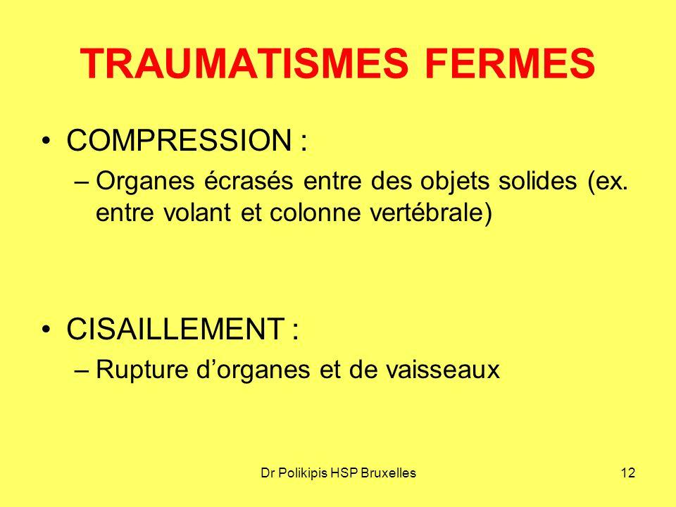 Dr Polikipis HSP Bruxelles12 TRAUMATISMES FERMES COMPRESSION : –Organes écrasés entre des objets solides (ex.
