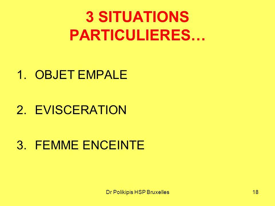 Dr Polikipis HSP Bruxelles18 3 SITUATIONS PARTICULIERES… 1.OBJET EMPALE 2.EVISCERATION 3.FEMME ENCEINTE
