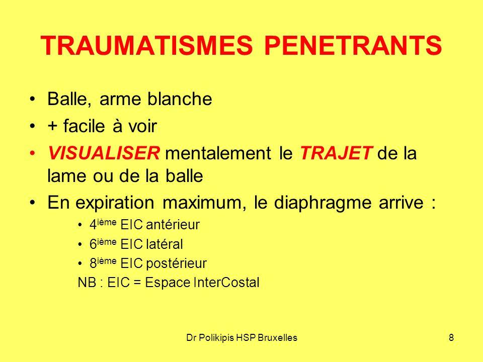 Dr Polikipis HSP Bruxelles9 TRAUMATISMES PENETRANTS ATTENTION AUX LESIONS PENETRANTES : Thorax Flancs Fesses
