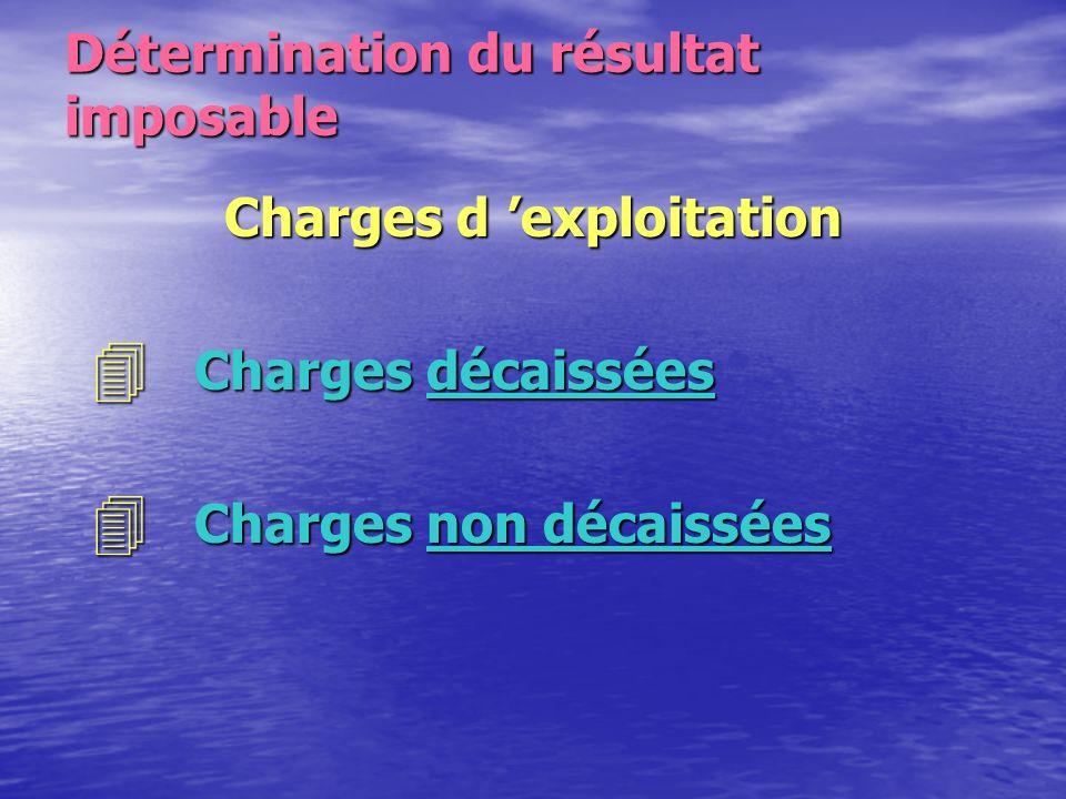 Détermination du résultat imposable Charges d 'exploitation Conditions de forme * Charges comptabilisées * Charges appuyées de justificatifs