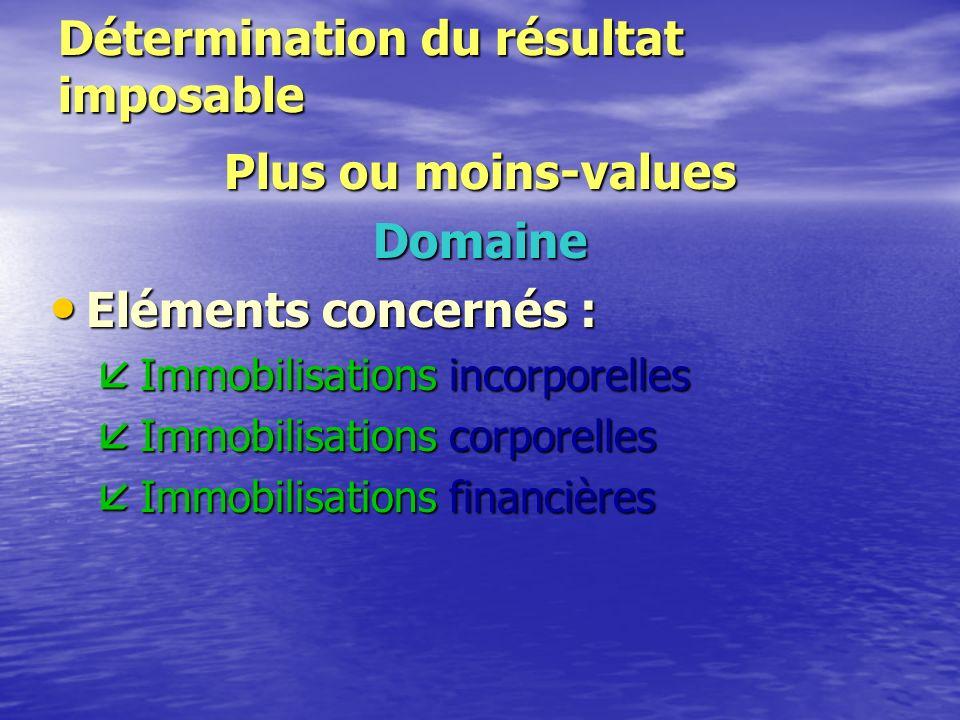 Détermination du résultat imposable Plus ou moins-values * Domaine * Calcul * Qualification * Régime fiscal * Régimes particuliers