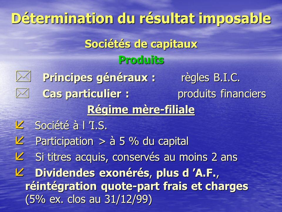 Détermination du résultat imposable Sociétés de capitaux Territorialité Entreprises exploitées et taxées en France si l 'activité est réalisée : * dans le cadre d 'un établissement autonome * par l 'intermédiaire d 'un représentant * dans le cadre d 'un cycle commercial complet