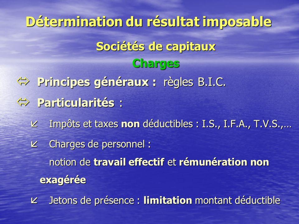 Détermination du résultat imposable Sociétés de capitaux Produits * Principes généraux : règles B.I.C.