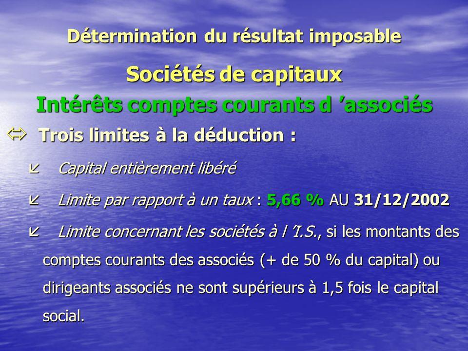 Détermination du résultat imposable Sociétés de capitaux Charges ó Principes généraux : règles B.I.C.