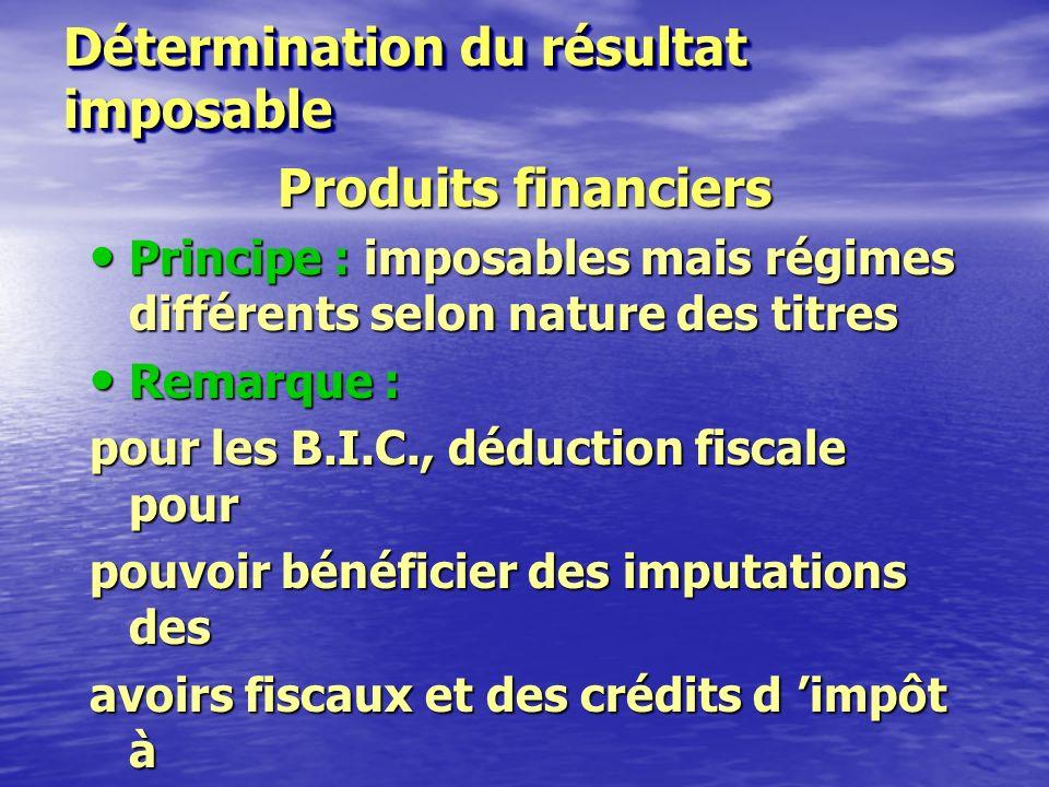 Détermination du résultat imposable Produits d 'exploitation Imposables : ventes de biens, travaux et prestations de services.