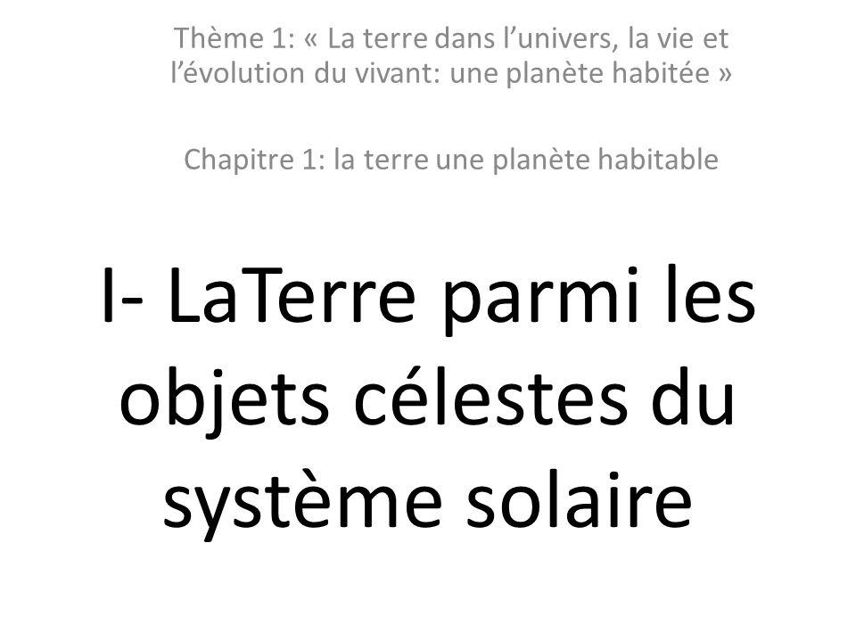 I- LaTerre parmi les objets célestes du système solaire Thème 1: « La terre dans l'univers, la vie et l'évolution du vivant: une planète habitée » Chapitre 1: la terre une planète habitable