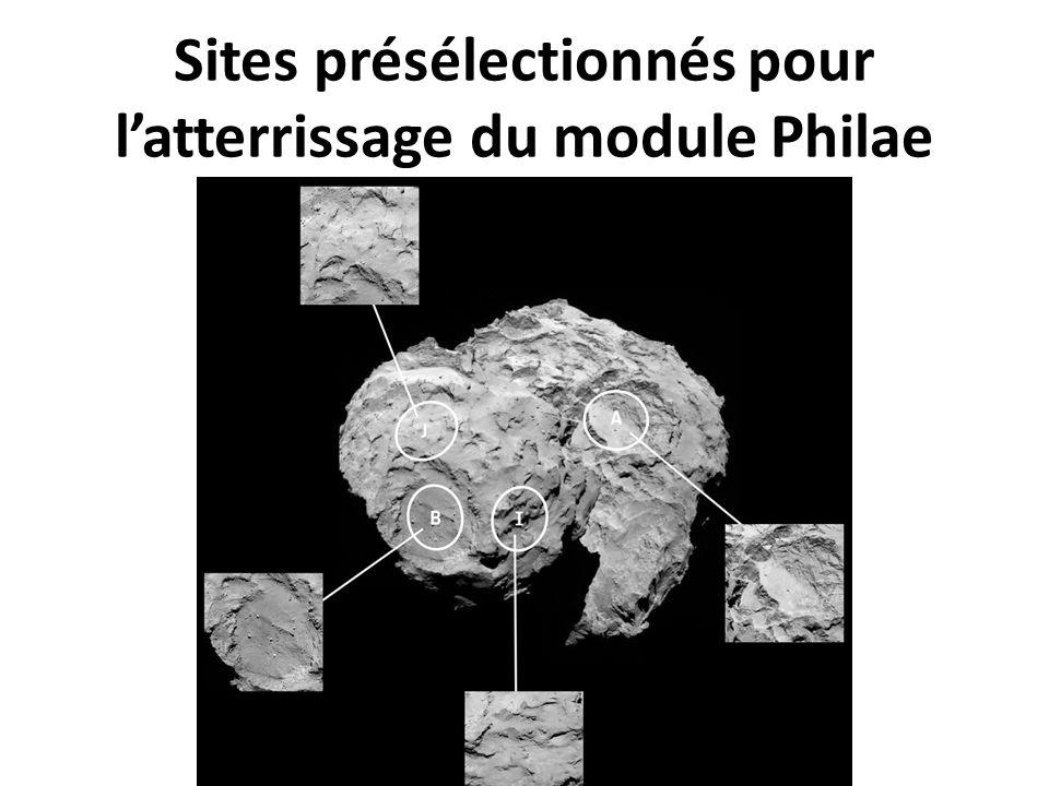 Sites présélectionnés pour l'atterrissage du module Philae