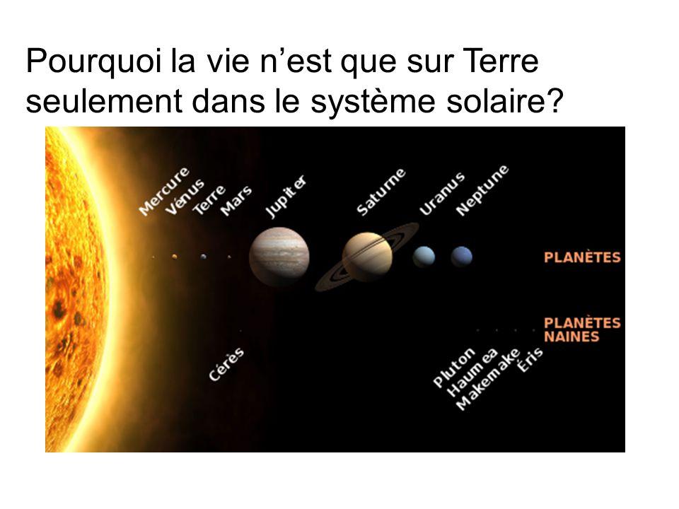 Pourquoi la vie n'est que sur Terre seulement dans le système solaire
